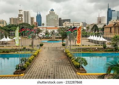 NAIROBI, KENYA - OCTOBER 20, 2014 : Courtyard surrounding the Jomo Kenyatta statue in front of the Kenyatta International Conference Centre in the central business district of Nairobi