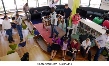 NAIROBI, KENYA, October 2013: Co-workers at the iHub Nairobi, a working space for technology entrepreneurs