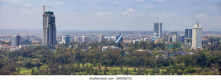 NAIROBI, KENYA-SEPTEMBER 14, 2014: Skyscrapers and new construction dominate the skyline of Nairobi, Kenya.