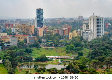 Nairobi skyline skyscrapers city view. Cityscape of the capital of Kenya, Nairobi.