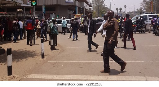 NAIROBI,KENYA – SEPTEMBER 26, 2017: National Super Alliance supporters staging demonstrations in Nairobi to force out electoral commission officials accused of bungling August 8 presidential election.