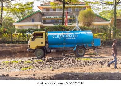 Nairobi,Kenya,Afrique-03/01/2018.Blue water tank for drinking water