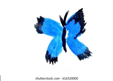 naive water color painting of blue butterfly