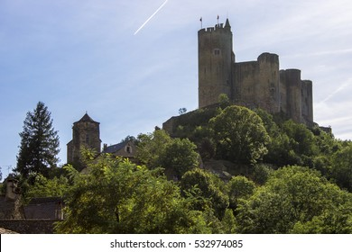 Najac, a picturesque village set along a ridge above a bend in the Aveyron River. Famous for the partly ruined that dominates the town.