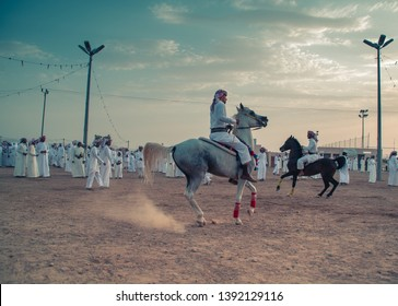 Najran / Saudi arabia - 7/2/2017 : gathering of the people of najran city after eid with there horses and tradition clothes and dancing