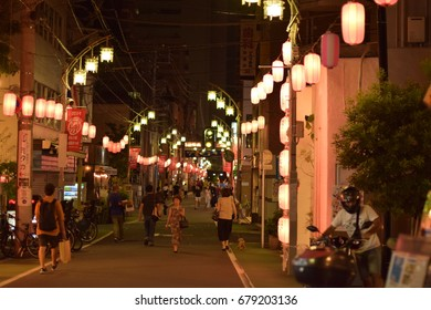 NAKA-MEGURO, TOKYO/JAPAN - July 17, 2017: Lamps festival on Sunday evening. This is a local gathering in July month showing beautiful lamps across the street.