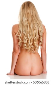 Naked back of a woman, isolated on white background