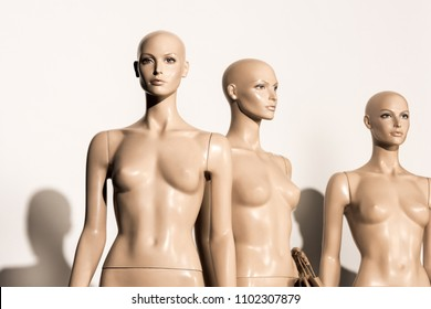 naked bald mannequins and shadows on white
