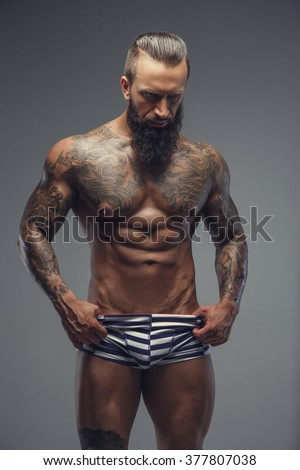 men Naked beard tattoo