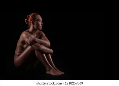 Naked beautiful figure of female person, nu art