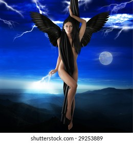 naked black angel flying to heaven in a lightning night sky