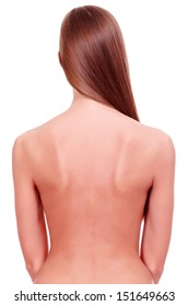 Naked female back, white background, copyspace