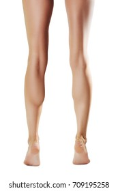 Naked female legs on tip toe, back point of view isolated on white