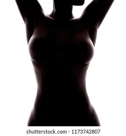 naked female torso of unrecognizable african woman as silhouette, cosmetic surgery and mammoplasty concept