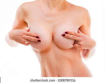 Naked girl closes her nipples with fingers