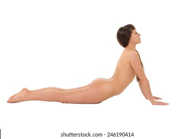 Naked girl is engaged in yoga isolated on a white background