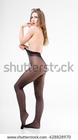 Naked girl in pantyhose