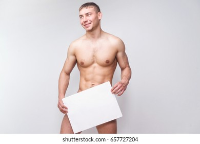 Naked guy with poster template