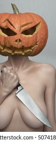 Naked Halloween Lady with Pumpkin Head