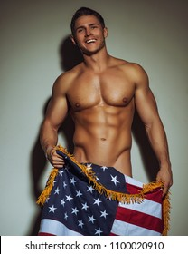 Naked man with American flag