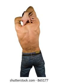 Naked man back torso