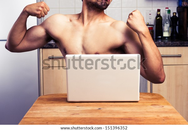 Naked man trying to impress during webcam chat