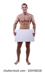 Naked man with white blank billboard