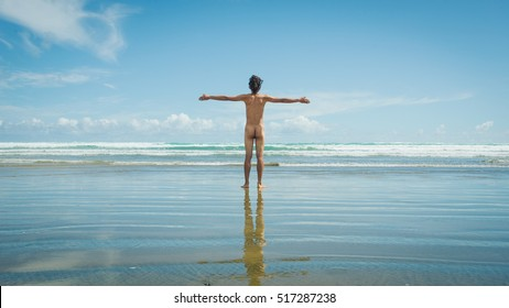 Naked men with the beach in New Zealand