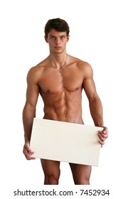 Naked muscular man covering with a box copy space, isolated on white