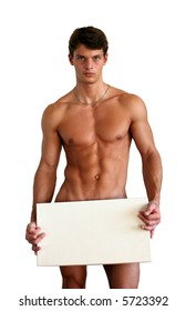 Naked muscular man covering with a white box (copy space) isolated on white