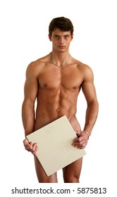 Naked muscular man covering with a white square tile (copy space) isolated on white