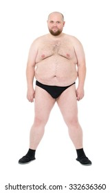 Naked Overweight Man with Big Belly front view, on white background