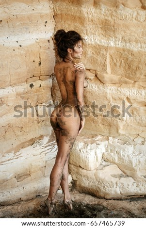 Authoritative point naked woman covered in something