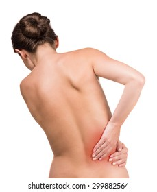 Naked woman with pain in back on white background. Back view.