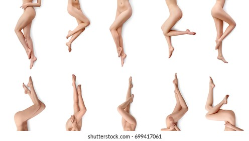 Naked woman posing with her beautiful slim fit legs isolated on white nudity nude erotic seduction sensuality beauty skincare medicine concept.