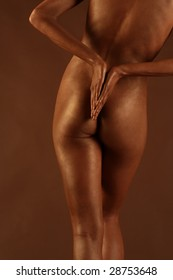 naked womans body grease colour