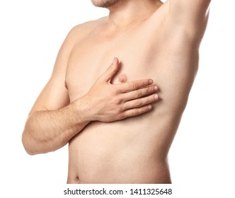 Naked young man after epilation on white background