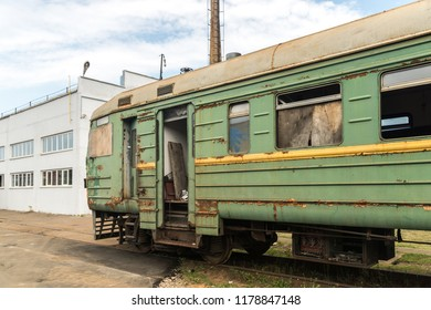 NAKHABINO, MOSCOW REGION, RUSSIA - 30 august 2018: The old suburban electric train ER2 is in the depot Nakhabino waiting for cutting into scrap metal