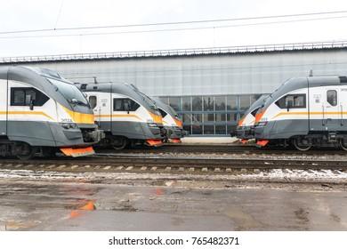 NAKHABINO, MOSCOW REGION, RUSSIA - November 15 2017: Locomotive depot Nakhabino. Modern russian suburban train EP2D (trains for CPPK company) production Demikhovo Machinebuilding Plant (DMZ)
