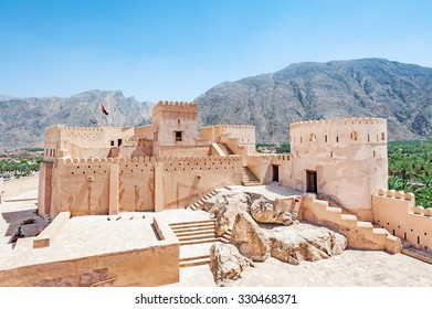 Nakhal Fort in Al Batinah, Oman. It is located about 120 km to the west of Muscat, the capital of Oman and is known as Qal'a Nakhal or Husn Al Heem.