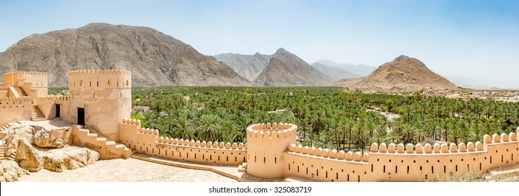 Nakhal Fort in Al Batinah Region of Oman. It is located about 120 km to the west of Muscat, the capital of Oman. Nakhal town is known as the town of oasis.