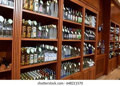 Nakhchivan, Azerbaijan; May 21, 2017: Many types of vodka and alcohol drinks in supermarket.
