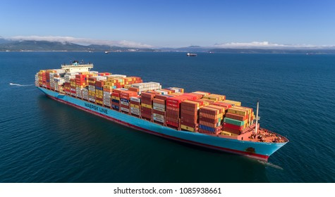 Nakhodka. Russia - August 22, 2017: Bright container on the ship of the company Maersk from above.
