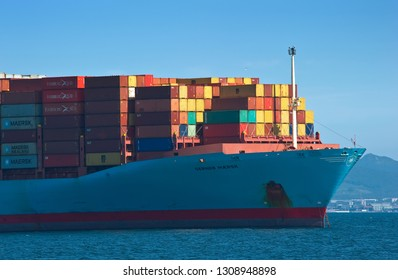Nakhodka. Russia - August 22, 2017: The bow of the container ship Gerner Maersk standing in the roadstead.