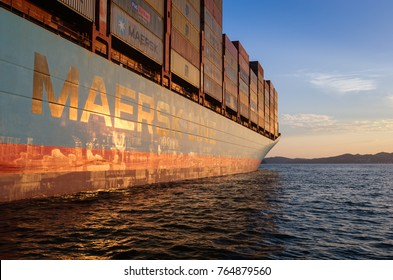 Nakhodka. Russia - August 22, 2017: Container ship Gerner Maersk at anchor in the roads on the sanset.