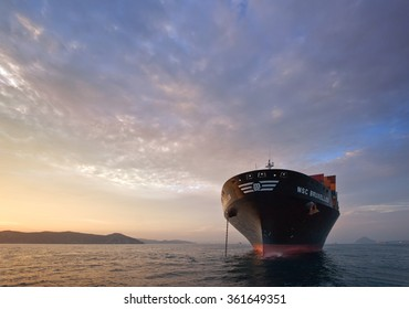 Nakhodka, Russia - August 5, 2015: Container ship MSC Bruxelles standing on the roads at anchor.