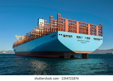 Nakhodka, Russia - January 12, 2019: Feed a large container ship standing on the raid.