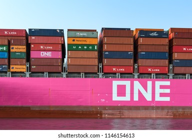 Nakhodka. Russia - July 23, 2018: Board loaded container ship company ONE close up.