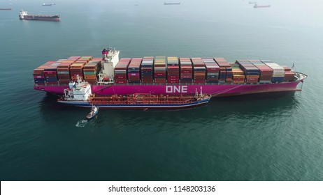 Nakhodka. Russia - July 23, 2018: Bunkering tanker Ostrov Sakhalin a large container ship ONE Competence.