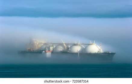 Nakhodka. Russia - July 28, 2017: Tanker RN-Polaris is engaged in bunkering LNG-tanker Energy Progress.